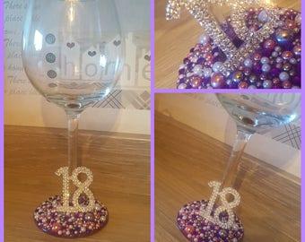 Personalized Wine Glass - 18th Birthday