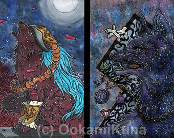 Traditional illustration animal Wolf Kunst print digital photo set 2 x.