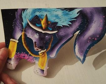Sticker digital illustration Wolf Samurai