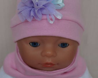 Hand made hat and sleeve set for Baby Born, Baby Born sister, or other doll till 43 cm (17 inch)