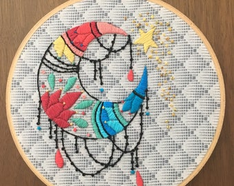 "Moonbeams 6"" Hand embroidered hoop art"