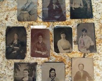 Girls Galore:  Lot of 10 Antique Tintype Photographs/Portraits of Women