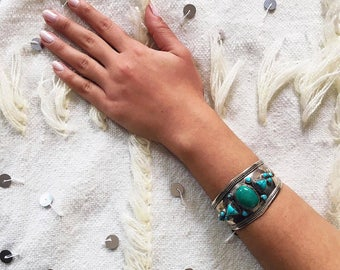 Moroccan Bracelet, Moroccan Jewelry, 925 Sterling Silver, Silver Cuff, Bohemian Style, Boho-Gypsy Bracelet - Free US Shipping