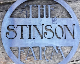 Hanging Farm Sign - Custom Metal Sign - Family Name Sign - Metal Farm Sign - Family Farm Farmer Ranch