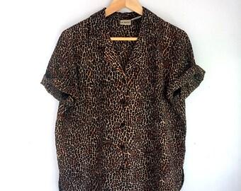 Vintage Leopard Print Blouse | Size S/M | Women's Vintage Clothing