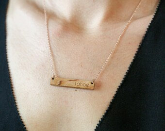 Wooden Bar Necklace / Tahoe Bar Necklace / Travel Gift / Wood Jewelry / Bridesmaid Gift
