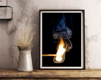 Flame, lighted match Photo, Photoprint, Art, Printart - Poster, Acrylic, PVC foamboard, canvas print