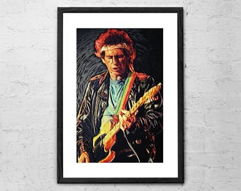 Keith Richards - Illustration - The Rolling Stones - Rock Poster - Rock and Roll Art - Rolling Stones Poster - Rolling Stones Art Print