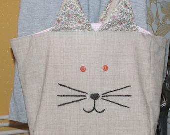 Bag cat, nice bag linen basket for child (school) or the MOM market