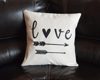Love Arrow Pillow Decorative Pillow Housewarming Gift Throw Pillow Calligraphy Pillow