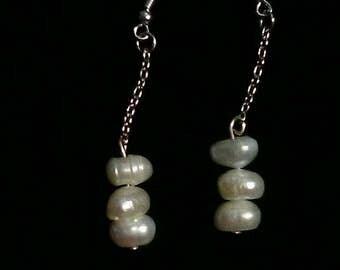 Genuine baroque freshwater pearls & silver plated earrings