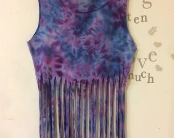 Tie dye fringe shirt