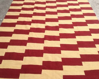 ARTICLE # 6015 Special High Quality Stripped Hand Made Wool Kilim Rug 286 x 195 CM ( 9.4 x 6.4 Feet)