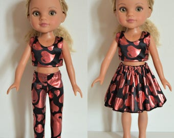 "Handmade Doll Clothes Top and Pants Leggings Skirt fits 14"" Hearts for Hearts H4H G2G Dolls 1"
