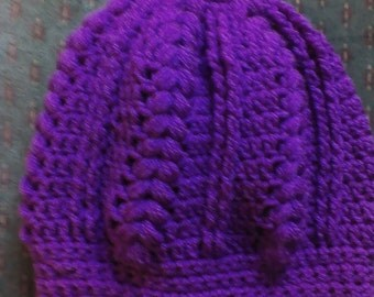 Crochet Braided Chunky Puff Cable and Rib Slouchy