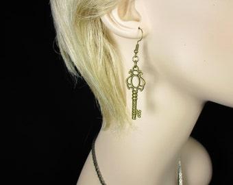 MadMartin Antique Bronze Style Key Earrings