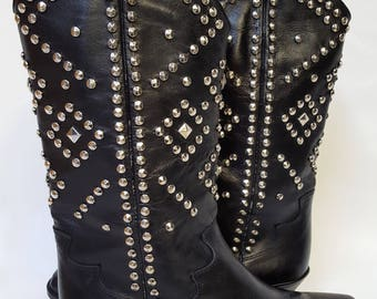 Black Italian Leather cowboy style boots with silver studding WOMENS 7.5