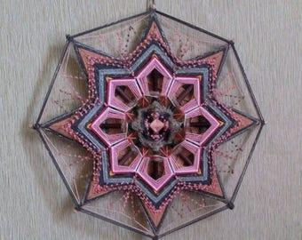 Sakura - decorative woven mandala, ojo de  dios, decor, 39 cm (15 inches) in diameter