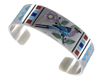 Bangle silver bird/flower multicolor