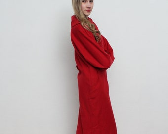 Red Midi Dress/ Made in Italy/ Wool