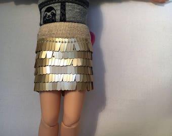 Golden skirt for Blythe doll