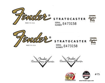 Fender Stratocaster Guitar Decal Headstock Restoration Waterslide Decal Logo #75