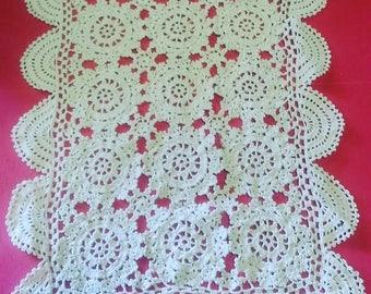 Vintage Ecru Cotton Hand Crocheted Rectangular Doily