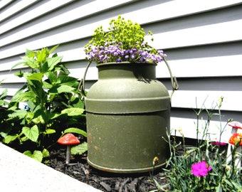 Primitive Iron Bucket, Rustic Milk Pail, Old Heavy Metal, Farmhouse Container, Cottage, Antique Garden Pot, Dutch Milking Jug, Water Bucket