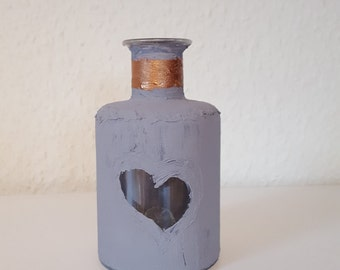 Vase flower vase concrete bottle vintage glass concrete grey copper country-style 200 ml