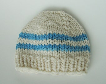 Handknit American Nontoxic Natural Merino Wool Chunky Baby Hat - Preemie White and Blue Stripes