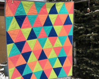 Bright modern triangle quilt