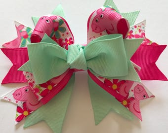 Pink & green-stacked hair bow, hair clip, hair accessory, bow