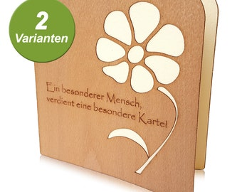 Special wood greeting card for special people, greeting card made of wood