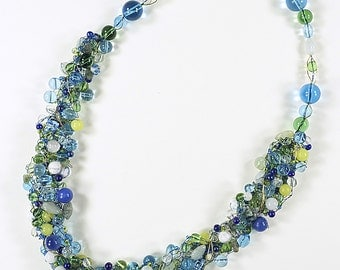 Art wire knit necklace, glass and acrylic beads