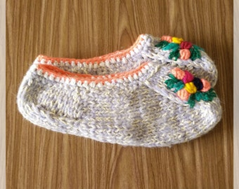 Womans Slippers, Warm Slippers, Purple Slippers, Knitted Slippers, Orange Stripes
