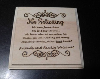 No Soliciting Plaque
