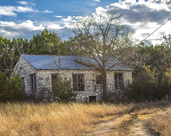 24x36 Abandoned Stone Dwelling country stone farmhouse on canvas