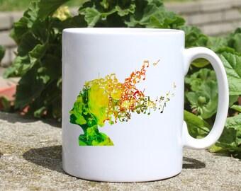 Cool hair Music mug - Hairstyle mug - Colorful printed mug - Tee mug - Coffee Mug - Gift Idea