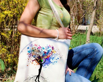 Butterfly tree tote bag - Woman shoulder bag - Fashion canvas bag - Colorful printed market bag - Gift Idea