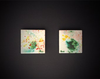 Original set of two artistic magnets, contemporary art for your fridge or magnetic board