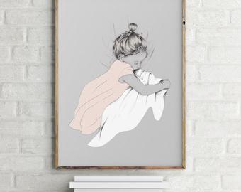 Illustration // Baby // Children Room // Pink Girl // Bedroom // DIN A3