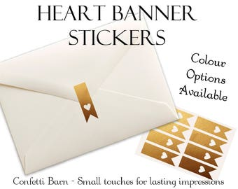 Heart Banner Stickers - Weddings - Removable Vinyl - Party Invitations - Envelope Sealing Stickers - Planner Stickers #67