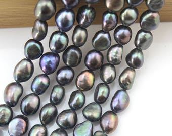 "15% OFF 8-9 mm Pearl Beads, Baroque FreshWater Pearl Beads,Black Baroque Pearl Beads About 36 pcs One Full Strand 15""-NS-029"