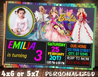 Barbie Invitation, Barbie Birthday, Barbie Party, Barbie Printable, Barbie Card, Barbie birthday invitation, Barbie birthday invite, Digital