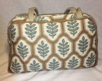 Teal and Brown Leaf Patterned Canvas Handbag