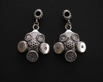 Gas Mask Charms, Antique Silver, Destash -  Never Used, 4.8cm (length including to end of bail) X 3cm (Set of 2)