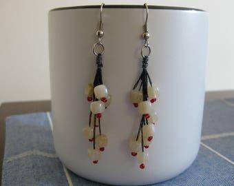 Brown & Red Dangle Earrings