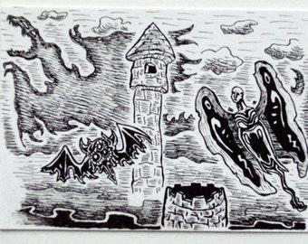 Night Flight Sketch Card