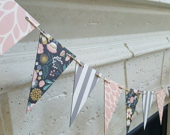 Floral and Pastel Triangle Banner