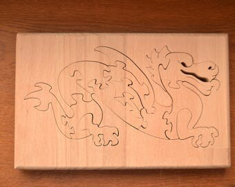 Dragon wood puzzle - Hand Cut with Scroll Saw Toy - Jigsaw puzzle - Game of Thrones - Mother of dragons - House Targaryen - Educational toy